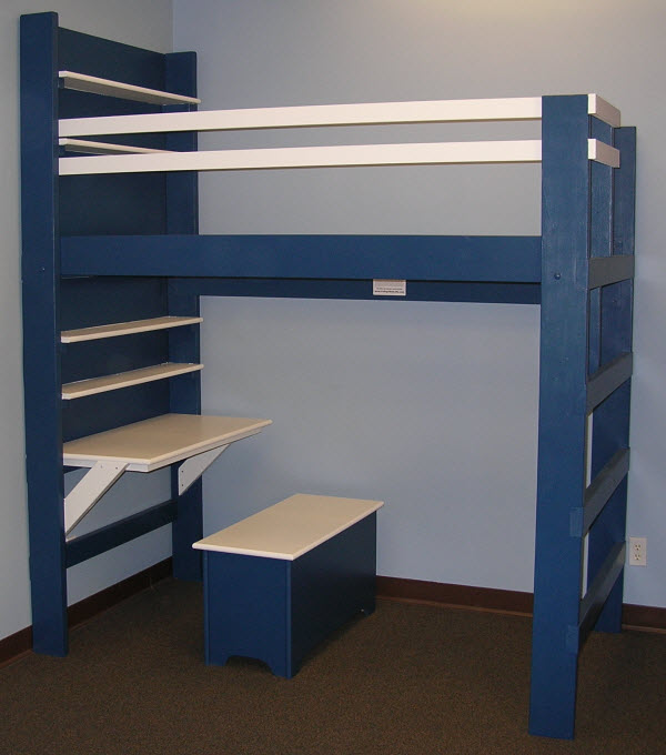 Small living college bed loft queen size loft bed equal for Queen bunk bed with desk