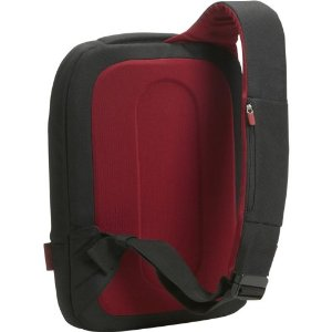 The Belkin Laptop Sling Bag shoulder strap in Black/Cabernet.
