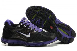 Nike LunarGlide+ 2 Black Purple Women's Shoes in Black and Purple