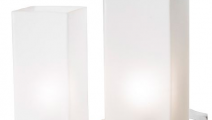 Set of two frosted glass IKEA Grönö lamps.