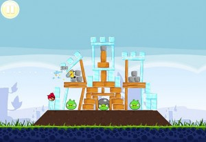A screenshot from the game Angry Birds