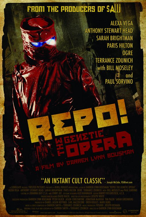 The original poster art for Repo! the Genetic Opera. There's a red-costumed repo man with blazing eyes in the foreground and the actor's names in the background.