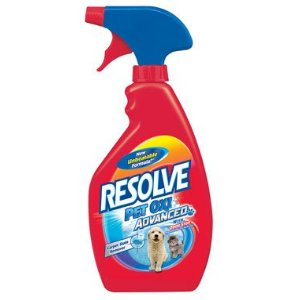 A bottle of Resolve Oxi Advanced Pet Stain Remover