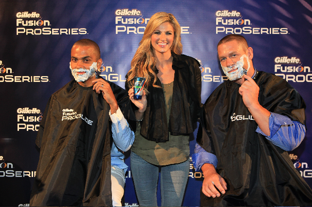 Tony Parker and John Cena shave with the Gillette Fusion ProGlide Razor and pose with Erin Andrews.