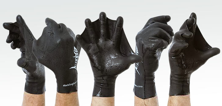 The Darkfin webbed glove shown in a variety of hand positions