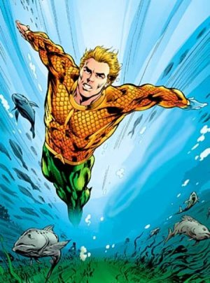 Aquaman gliding swiftly through the water