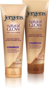 Jergens Natural Glow Revitalizing Daily Moisturizers in fair/medium and medium/tan bottles.