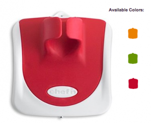The PalmPeeler in Cherry red, with icons indicating availability in Apricot orange and Arugula green as well.