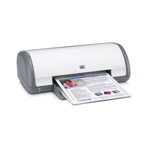 HP Deskjet D1560 printer printing a demonstration page.