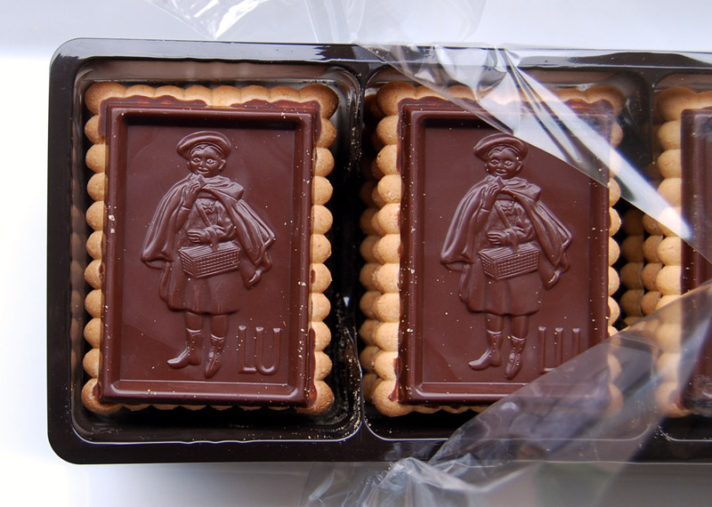 Close up of an opened box of Le Petit Ecolier Cookies