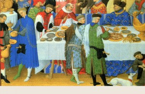 A painting of a medieval feast