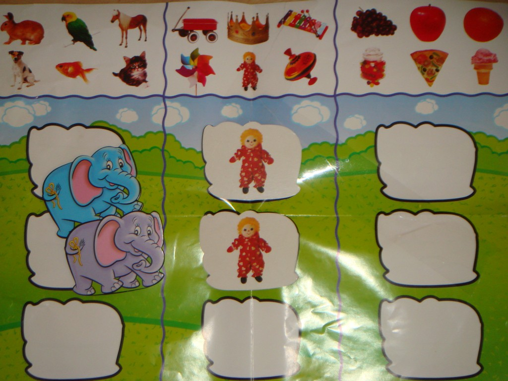 Game board and examples of game cards for the Carson-Dellosa Elephant Memory Matching Game