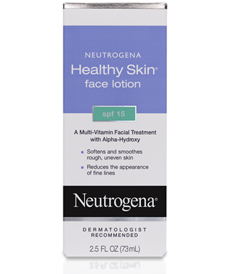 A bottle of Neutrogena Healthy Skin Face Lotion SPF 15