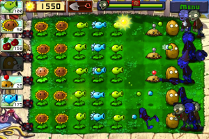 What the Plants Vs. Zombies screen looks like on the iPhone