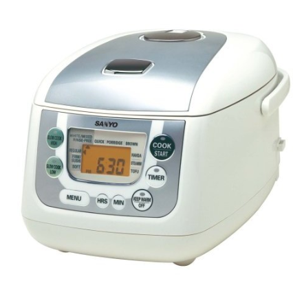 Micro-computerized 5.5-cup rice cooker and slow cooker with a programmable timer and steaming function