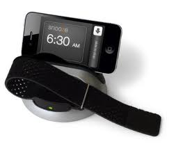 iPhone with docking station and wristband