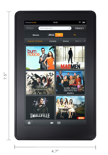 Amazon's Kindle Fire meassures 7.5'' long and 4.7'' wide.